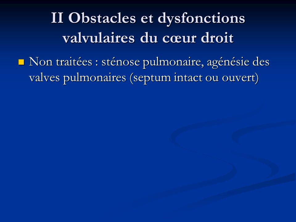 II Obstacles et dysfonctions valvulaires du cœur droit Non traitées : sténose pulmonaire, agénésie des valves pulmonaires (septum intact ou ouvert) No