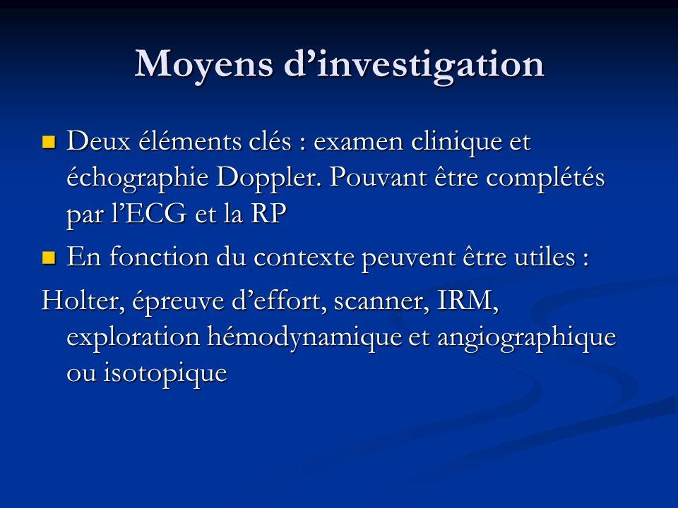 Moyens dinvestigation Deux éléments clés : examen clinique et échographie Doppler. Pouvant être complétés par lECG et la RP Deux éléments clés : exame