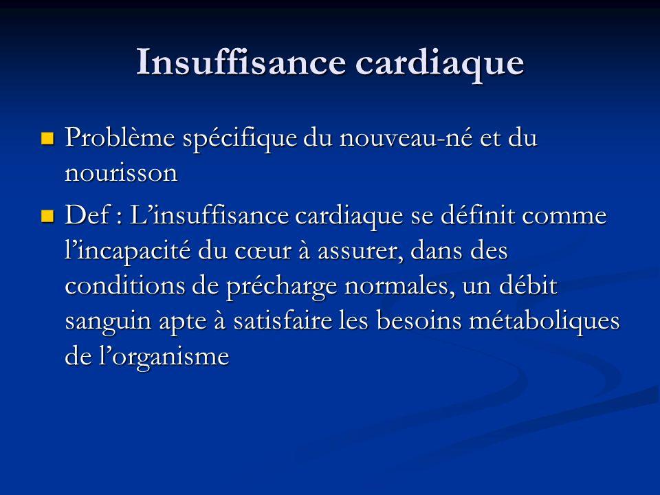 Insuffisance cardiaque Problème spécifique du nouveau-né et du nourisson Problème spécifique du nouveau-né et du nourisson Def : Linsuffisance cardiaq