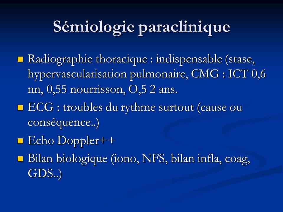 Sémiologie paraclinique Radiographie thoracique : indispensable (stase, hypervascularisation pulmonaire, CMG : ICT 0,6 nn, 0,55 nourrisson, O,5 2 ans.