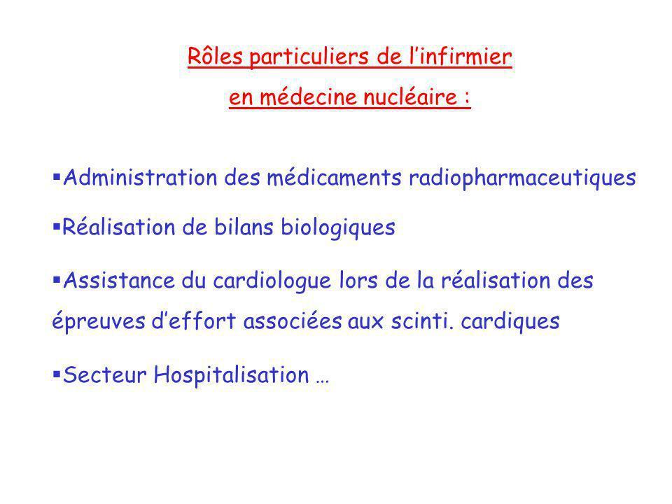 Rôles particuliers de linfirmier en médecine nucléaire : Administration des médicaments radiopharmaceutiques Réalisation de bilans biologiques Assista