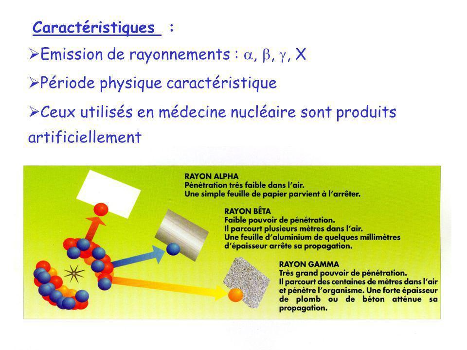 Caractéristiques : Emission de rayonnements :,,, X Période physique caractéristique Ceux utilisés en médecine nucléaire sont produits artificiellement