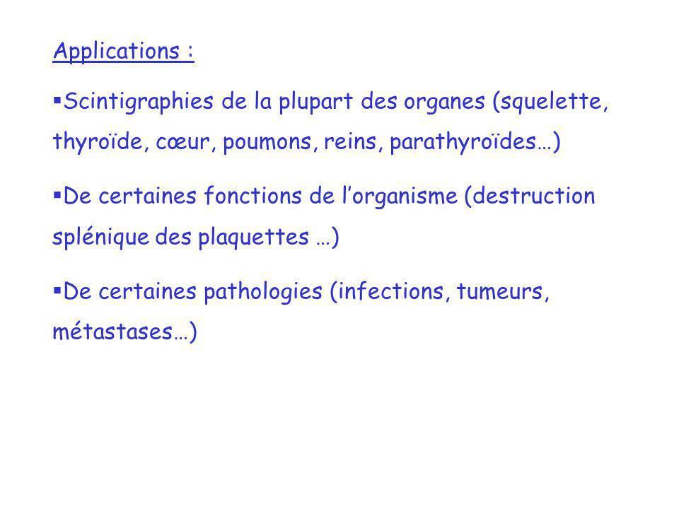 Applications : Scintigraphies de la plupart des organes (squelette, thyroïde, cœur, poumons, reins, parathyroïdes…) De certaines fonctions de lorganis