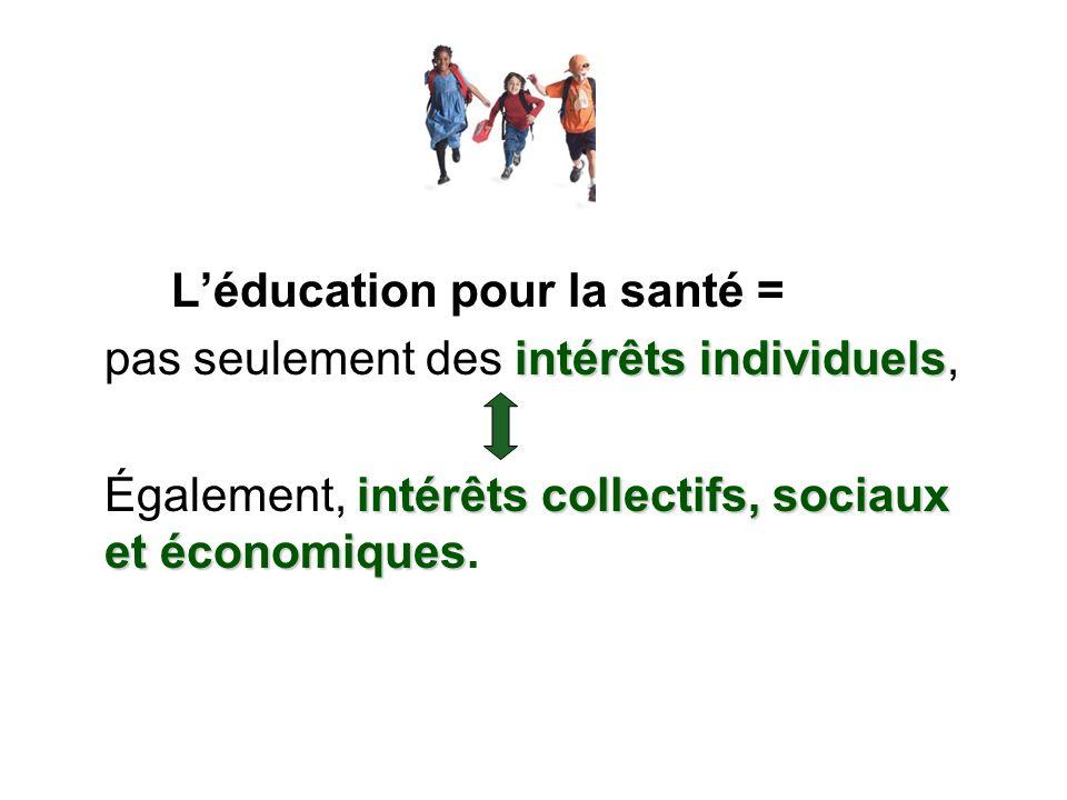 Léducation pour la santé = intérêts individuels pas seulement des intérêts individuels, intérêts collectifs, sociaux et économiques Également, intérêt
