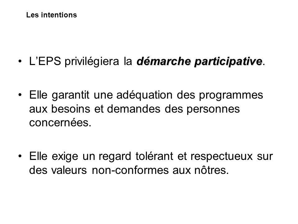démarche participativeLEPS privilégiera la démarche participative. Elle garantit une adéquation des programmes aux besoins et demandes des personnes c
