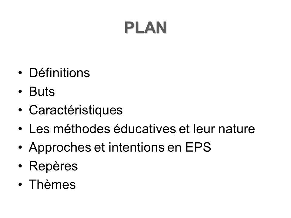 PLAN Définitions Buts Caractéristiques Les méthodes éducatives et leur nature Approches et intentions en EPS Repères Thèmes