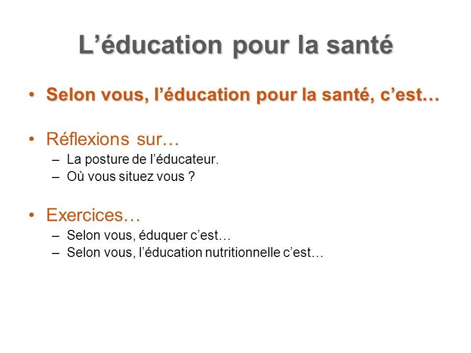 Léducation pour la santé Selon vous, léducation pour la santé, cest…Selon vous, léducation pour la santé, cest… Réflexions sur… –La posture de léducat