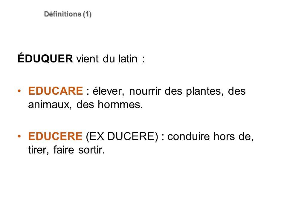 Définitions (1) ÉDUQUER vient du latin : EDUCARE : élever, nourrir des plantes, des animaux, des hommes. EDUCERE (EX DUCERE) : conduire hors de, tirer