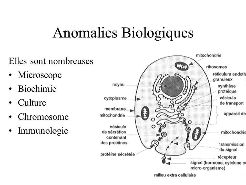 Anomalies Biologiques Elles sont nombreuses : Microscope Biochimie Culture Chromosome Immunologie