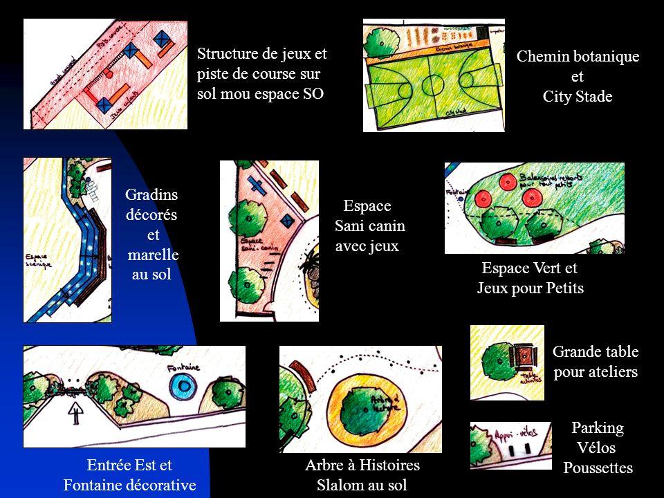 Structure de jeux et piste de course sur sol mou espace SO Gradins décorés et marelle au sol Espace Sani canin avec jeux Chemin botanique et City Stad