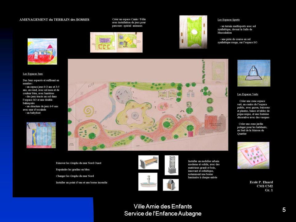 6 Créer une zone espace vert, au centre de l espace public, avec gazon, buissons et plantes, bancs et tables de pique-nique, et une fontaine décorative avec des vasques Créer une zone jardin potager pour les habitants, au Sud de la Maison de Quartier Des Jeux espacés et suffisant en nombre : - un espace jeux 0-3 ans et 3-5 ans, en rond, avec sol mou et de couleur bleu, avec barrières - des jeux tracés au sol dans l espace SO et une double balançoire - un structure de jeux 6-9 ans avec mur d escalade