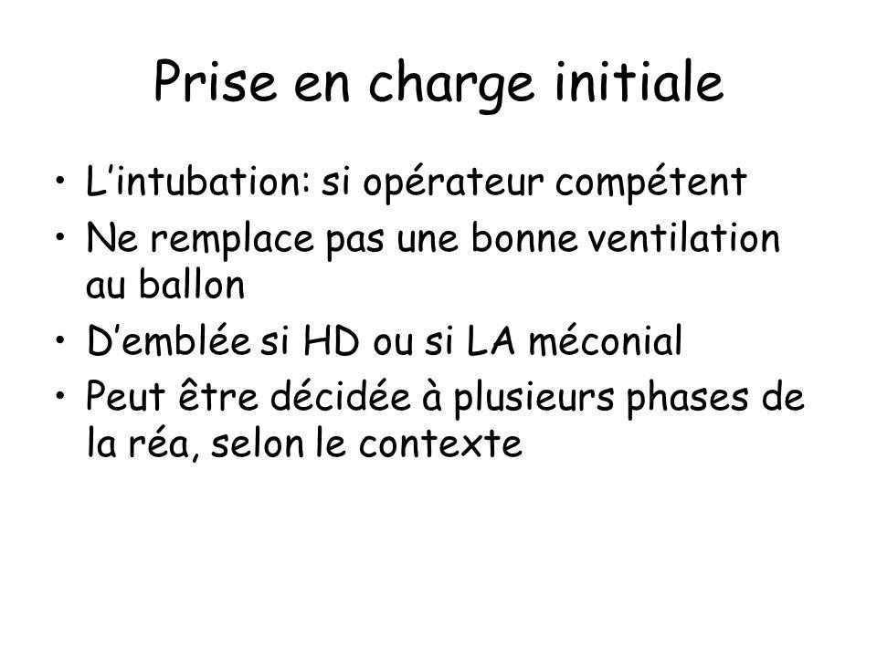 Prise en charge initiale Lintubation: si opérateur compétent Ne remplace pas une bonne ventilation au ballon Demblée si HD ou si LA méconial Peut être