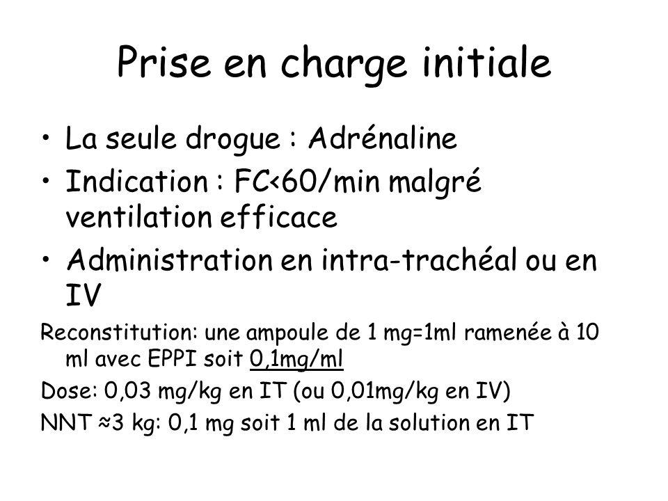 Prise en charge initiale La seule drogue : Adrénaline Indication : FC<60/min malgré ventilation efficace Administration en intra-trachéal ou en IV Rec