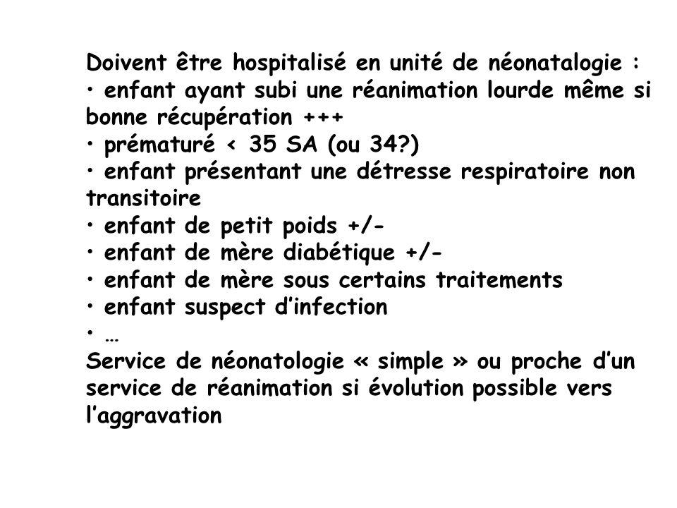 Doivent être hospitalisé en unité de néonatalogie : enfant ayant subi une réanimation lourde même si bonne récupération +++ prématuré < 35 SA (ou 34?)