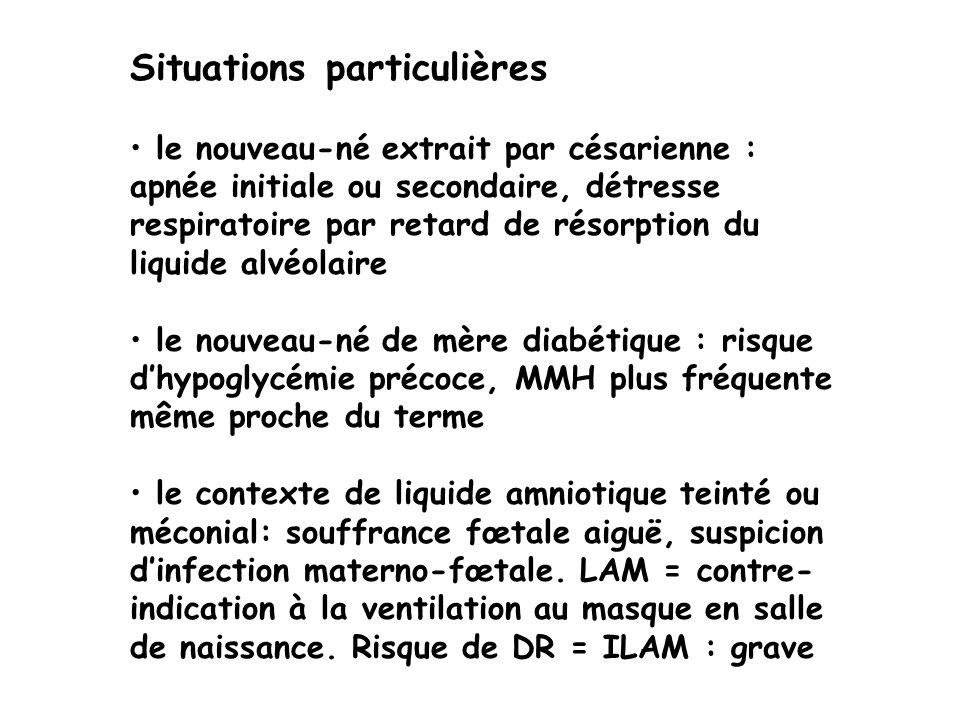 Situations particulières le nouveau-né extrait par césarienne : apnée initiale ou secondaire, détresse respiratoire par retard de résorption du liquid