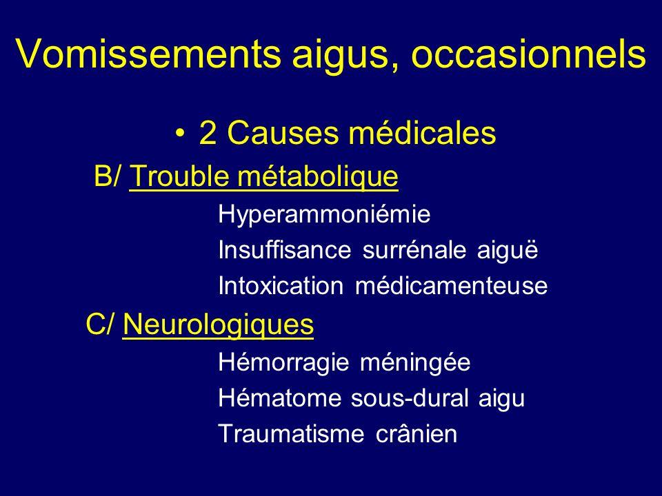 Vomissements aigus, occasionnels 2 Causes médicales B/ Trouble métabolique Hyperammoniémie Insuffisance surrénale aiguë Intoxication médicamenteuse C/