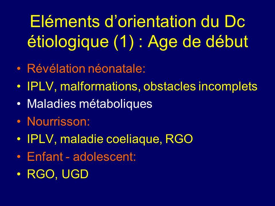 Eléments dorientation du Dc étiologique (1) : Age de début Révélation néonatale: IPLV, malformations, obstacles incomplets Maladies métaboliques Nourr
