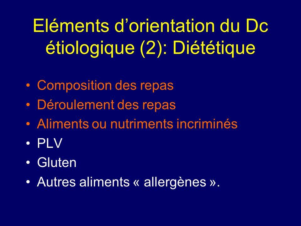 Eléments dorientation du Dc étiologique (2): Diététique Composition des repas Déroulement des repas Aliments ou nutriments incriminés PLV Gluten Autre