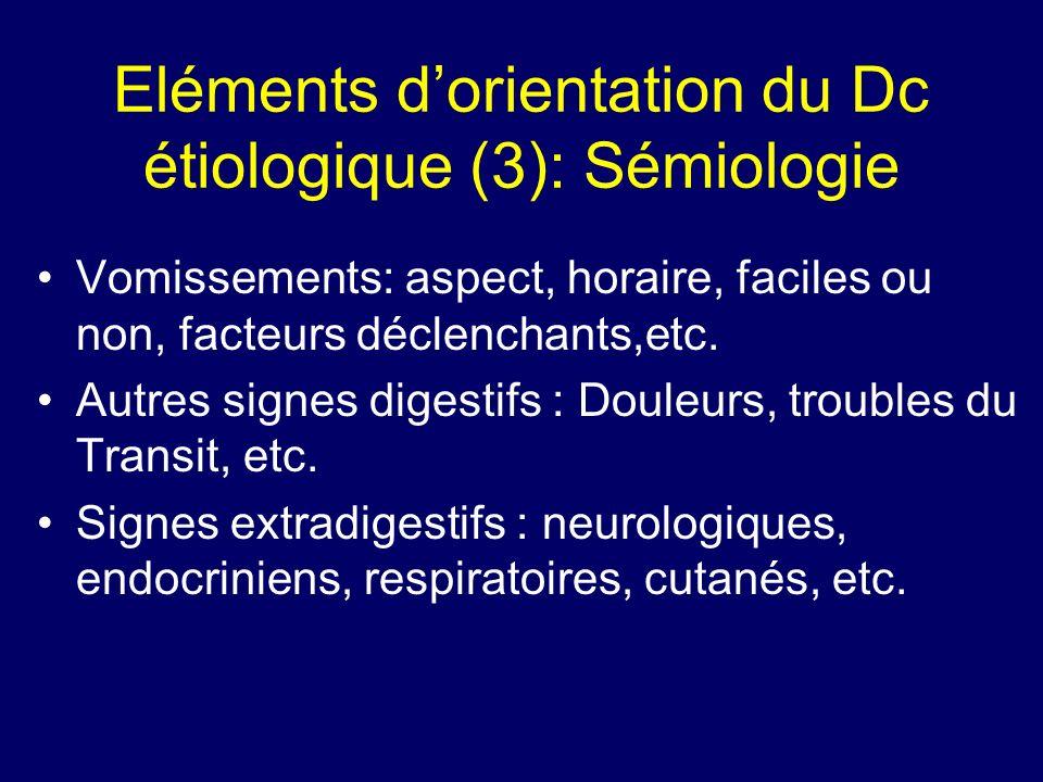 Eléments dorientation du Dc étiologique (3): Sémiologie Vomissements: aspect, horaire, faciles ou non, facteurs déclenchants,etc. Autres signes digest