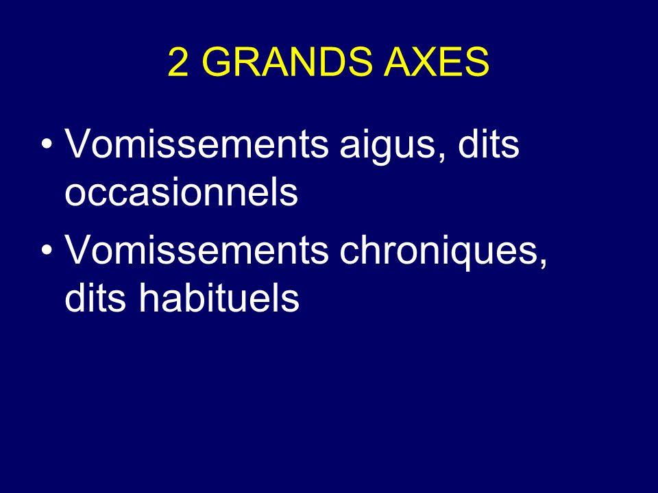 2 GRANDS AXES Vomissements aigus, dits occasionnels Vomissements chroniques, dits habituels