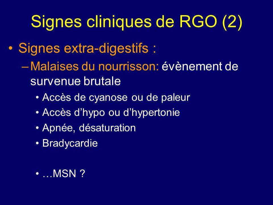 Signes cliniques de RGO (2) Signes extra-digestifs : –Malaises du nourrisson: évènement de survenue brutale Accès de cyanose ou de paleur Accès dhypo