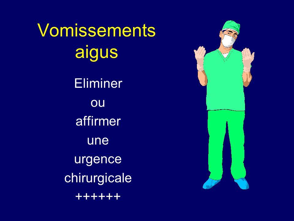 Vomissements aigus Eliminer ou affirmer une urgence chirurgicale ++++++