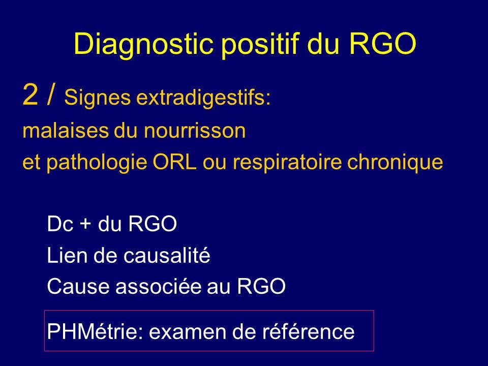 Diagnostic positif du RGO 2 / Signes extradigestifs: malaises du nourrisson et pathologie ORL ou respiratoire chronique Dc + du RGO Lien de causalité