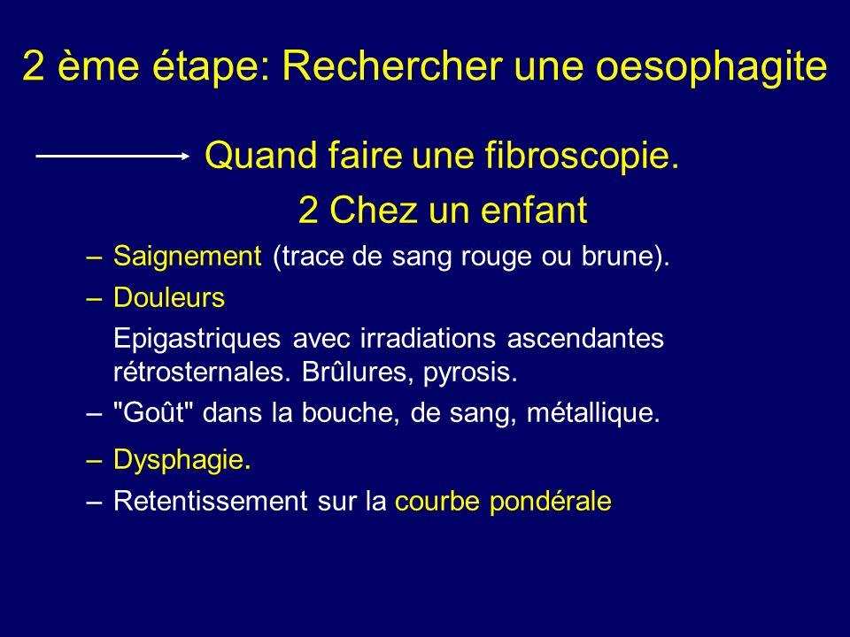 2 ème étape: Rechercher une oesophagite Quand faire une fibroscopie. 2 Chez un enfant –Saignement (trace de sang rouge ou brune). –Douleurs Epigastriq