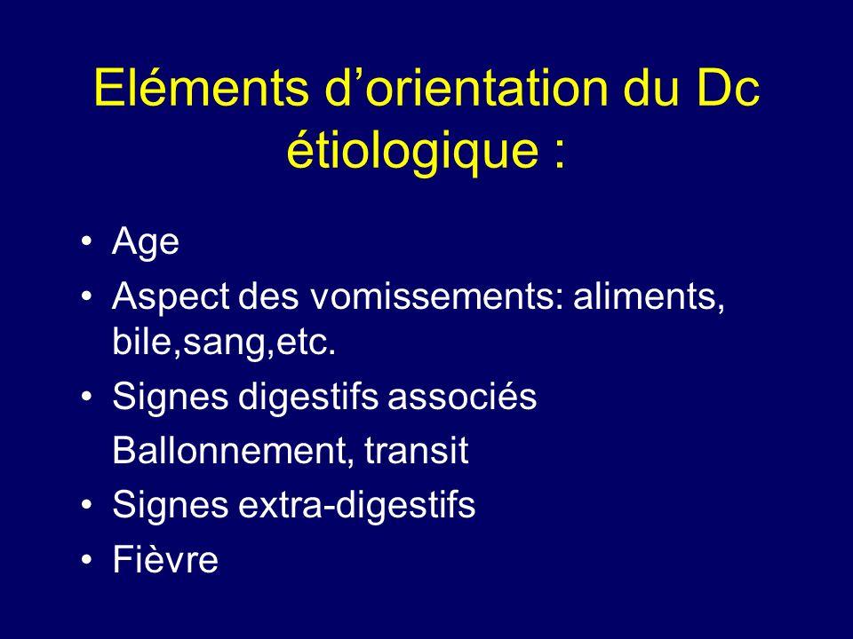 Eléments dorientation du Dc étiologique : Age Aspect des vomissements: aliments, bile,sang,etc. Signes digestifs associés Ballonnement, transit Signes