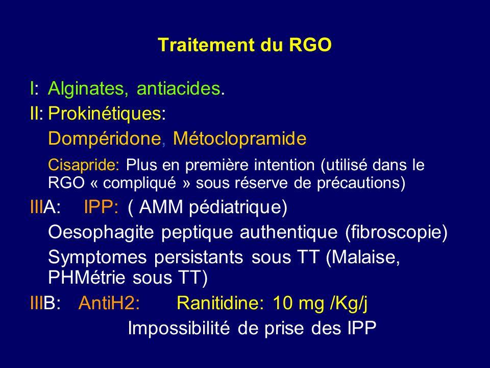 Traitement du RGO I:Alginates, antiacides. II:Prokinétiques: Dompéridone, Métoclopramide Cisapride: Plus en première intention (utilisé dans le RGO «