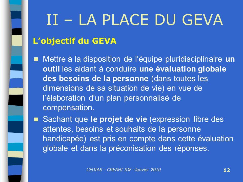 CEDIAS - CREAHI IDF -Janvier 2010 12 II – LA PLACE DU GEVA Mettre à la disposition de léquipe pluridisciplinaire un outil les aidant à conduire une év