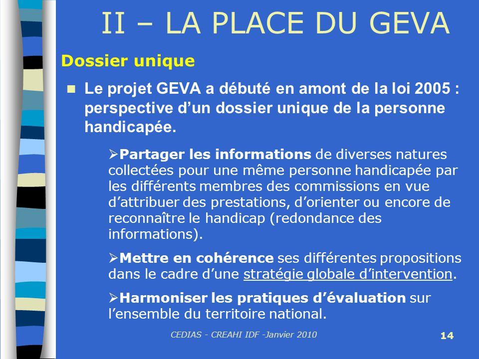 CEDIAS - CREAHI IDF -Janvier 2010 14 II – LA PLACE DU GEVA Le projet GEVA a débuté en amont de la loi 2005 : perspective dun dossier unique de la pers