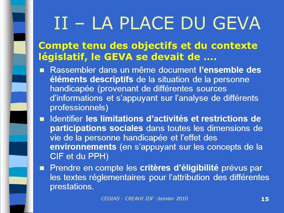 CEDIAS - CREAHI IDF -Janvier 2010 15 II – LA PLACE DU GEVA Rassembler dans un même document lensemble des éléments descriptifs de la situation de la p