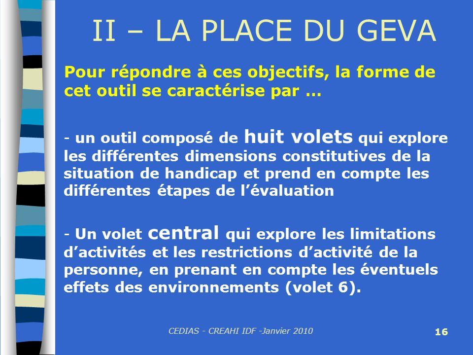 CEDIAS - CREAHI IDF -Janvier 2010 16 II – LA PLACE DU GEVA Pour répondre à ces objectifs, la forme de cet outil se caractérise par … - un outil compos