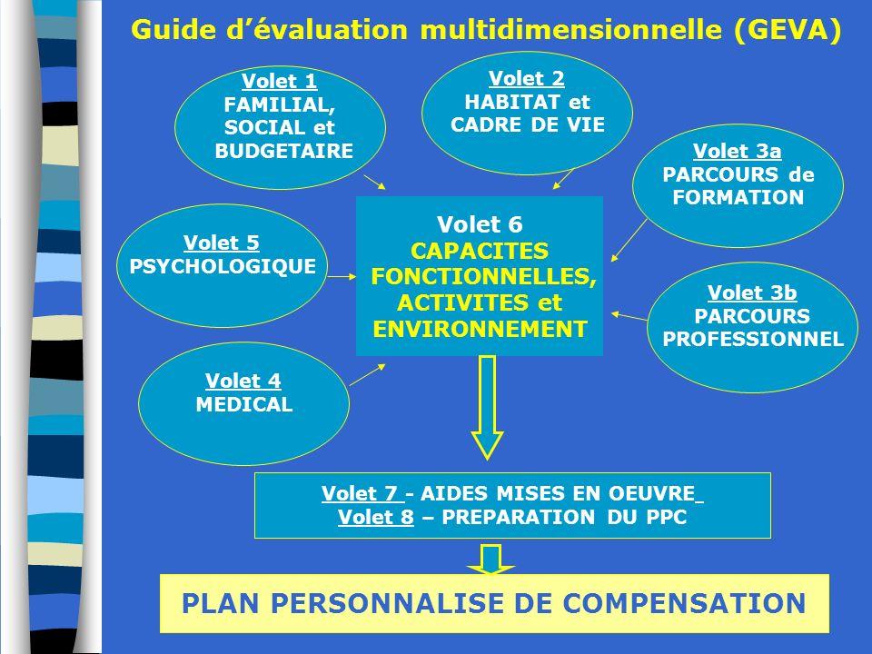 CEDIAS - CREAHI IDF -Janvier 2010 17 Volet 6 CAPACITES FONCTIONNELLES, ACTIVITES et ENVIRONNEMENT Guide dévaluation multidimensionnelle (GEVA) Volet 7