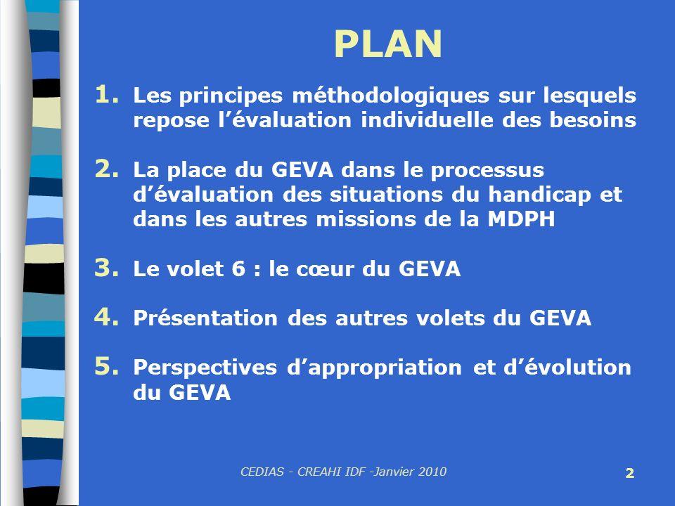 CEDIAS - CREAHI IDF -Janvier 2010 2 PLAN 1. Les principes méthodologiques sur lesquels repose lévaluation individuelle des besoins 2. La place du GEVA
