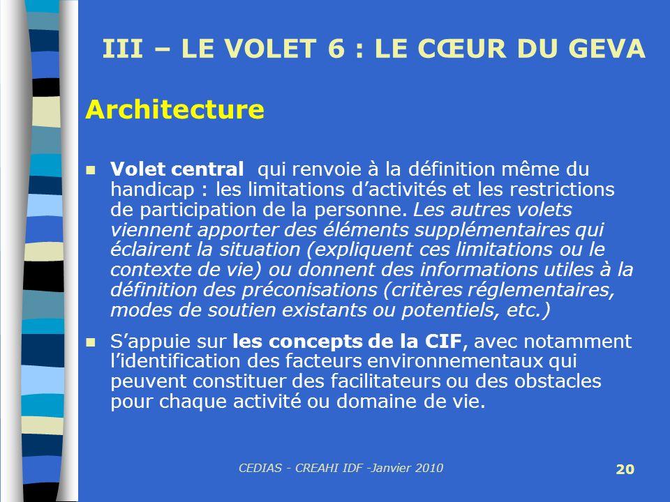 CEDIAS - CREAHI IDF -Janvier 2010 20 III – LE VOLET 6 : LE CŒUR DU GEVA Volet central qui renvoie à la définition même du handicap : les limitations d
