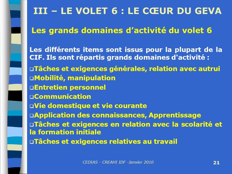 CEDIAS - CREAHI IDF -Janvier 2010 21 Les grands domaines dactivité du volet 6 Les différents items sont issus pour la plupart de la CIF. Ils sont répa