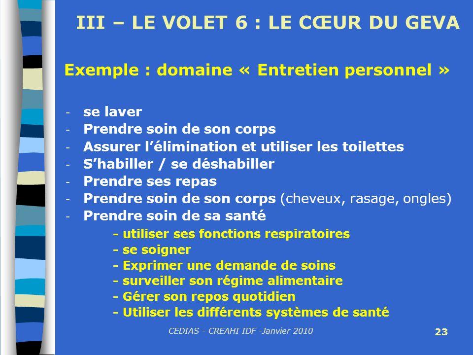 CEDIAS - CREAHI IDF -Janvier 2010 23 III – LE VOLET 6 : LE CŒUR DU GEVA - se laver - Prendre soin de son corps - Assurer lélimination et utiliser les
