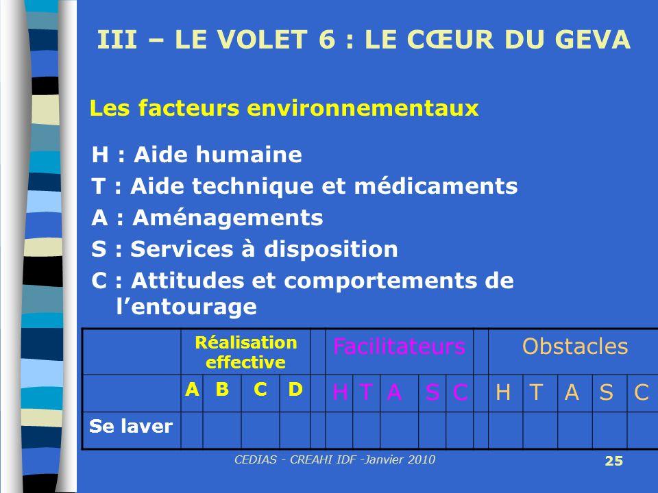CEDIAS - CREAHI IDF -Janvier 2010 25 III – LE VOLET 6 : LE CŒUR DU GEVA H : Aide humaine T : Aide technique et médicaments A : Aménagements S : Servic