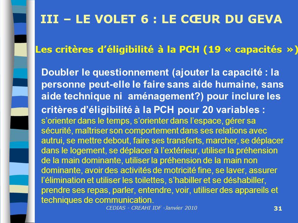 CEDIAS - CREAHI IDF -Janvier 2010 31 III – LE VOLET 6 : LE CŒUR DU GEVA Doubler le questionnement (ajouter la capacité : la personne peut-elle le fair
