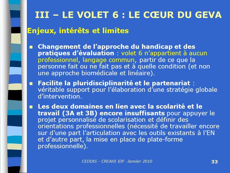 CEDIAS - CREAHI IDF -Janvier 2010 33 III – LE VOLET 6 : LE CŒUR DU GEVA Changement de lapproche du handicap et des pratiques dévaluation : volet 6 nap