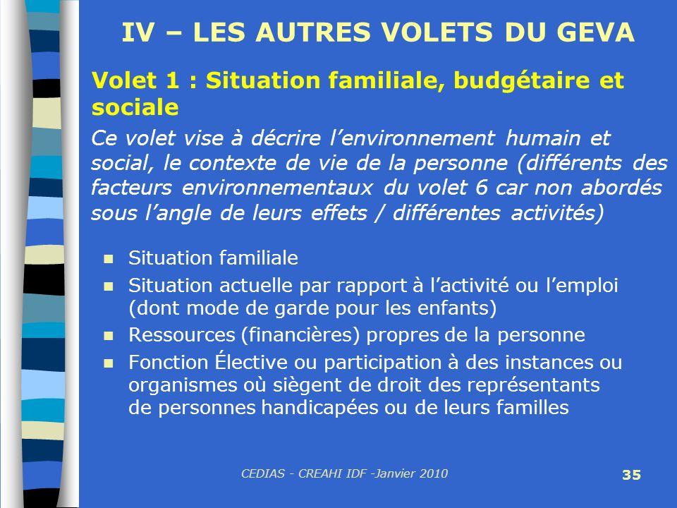 CEDIAS - CREAHI IDF -Janvier 2010 35 IV – LES AUTRES VOLETS DU GEVA Volet 1 : Situation familiale, budgétaire et sociale Ce volet vise à décrire lenvi