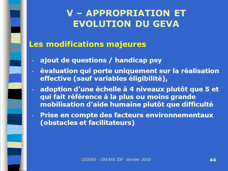 CEDIAS - CREAHI IDF -Janvier 2010 44 V – APPROPRIATION ET EVOLUTION DU GEVA - ajout de questions / handicap psy - évaluation qui porte uniquement sur
