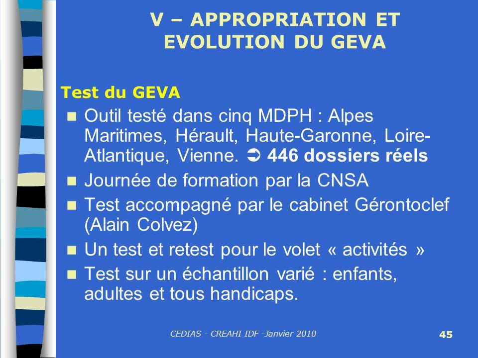 CEDIAS - CREAHI IDF -Janvier 2010 45 V – APPROPRIATION ET EVOLUTION DU GEVA Outil testé dans cinq MDPH : Alpes Maritimes, Hérault, Haute-Garonne, Loir