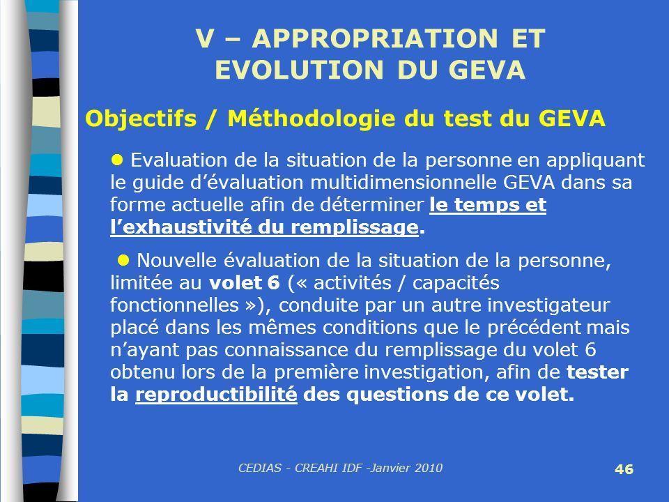 CEDIAS - CREAHI IDF -Janvier 2010 46 V – APPROPRIATION ET EVOLUTION DU GEVA Evaluation de la situation de la personne en appliquant le guide dévaluati