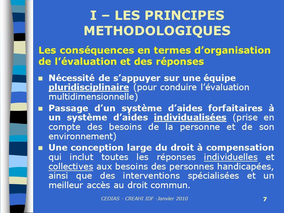 CEDIAS - CREAHI IDF -Janvier 2010 7 I – LES PRINCIPES METHODOLOGIQUES Nécessité de sappuyer sur une équipe pluridisciplinaire (pour conduire lévaluati