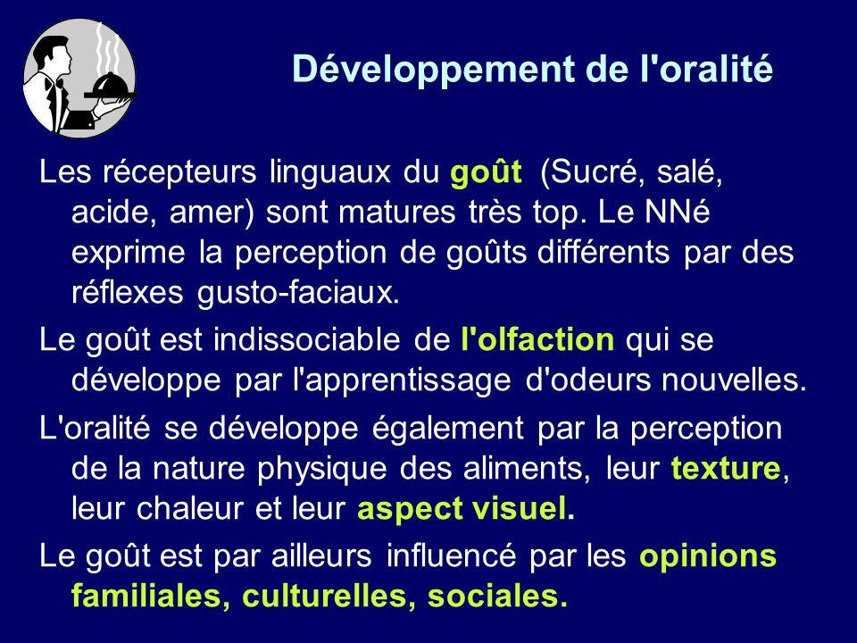 Développement de l oralité Les récepteurs linguaux du goût (Sucré, salé, acide, amer) sont matures très top.