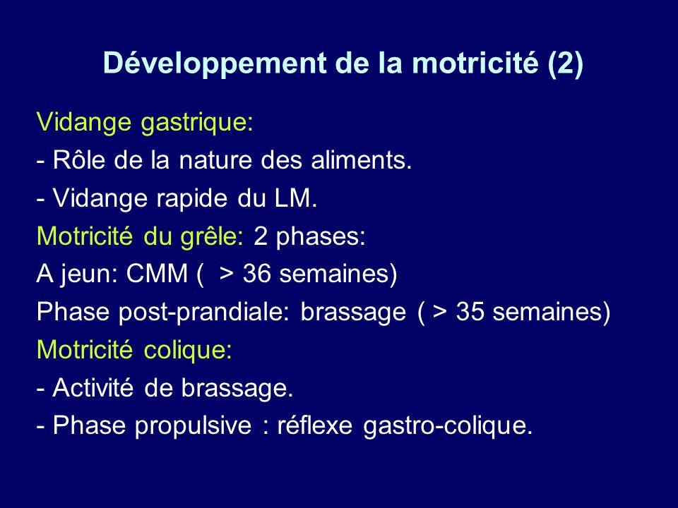Développement de la motricité (2) Vidange gastrique: - Rôle de la nature des aliments.