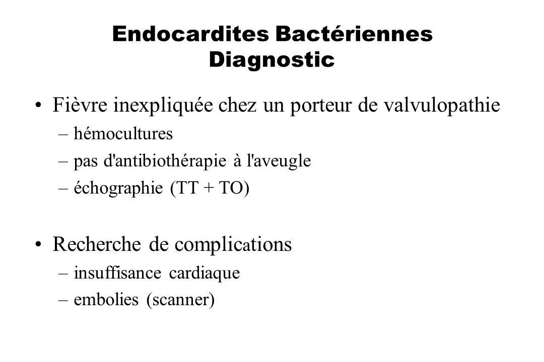 Endocardites Bactériennes Diagnostic Fièvre inexpliquée chez un porteur de valvulopathie –hémocultures –pas d'antibiothérapie à l'aveugle –échographie